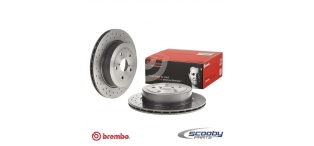 Brembo Drilled Rear Brake Discs Subaru Impreza STI 2001-2004 Non-Widetrack