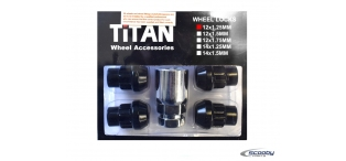 Titan Locking Wheel Nuts Black - Set of 4