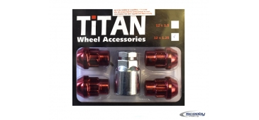 Titan Locking Wheel Nuts Red - Set of 4