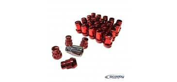 Titan Wheel Nut Set Including Lockers in Red for Subaru Impreza WRX and STI